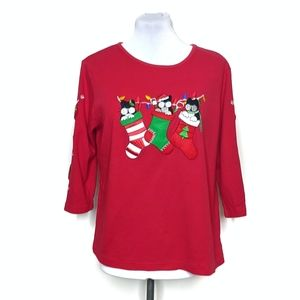 Allyson Whitmore Red Embroidered Christmas Top